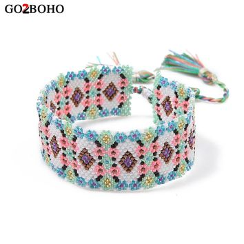 Go2boho Drop-shipping Supplier Cuff Bracelet Charm Bracelets MIYUKI Seed Beads Loom Weave Boho Ethnic Women Jewelry Heart Gifts