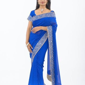 Dazzling Royal Blue with Diamond Embroidery Sari