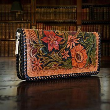 Women Vintage Handmade Flower Design Genuine Leather Long Wallet Holder Card