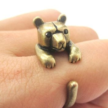 3D Baby Polar Bear Wrapped Around Your Finger Shaped Animal Ring in Brass | US Size 4 to 8.5