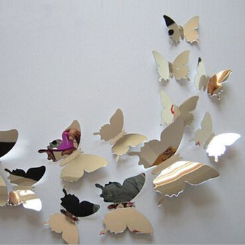 12pcs set New Arrive Mirror Silver 3D Butterfly Wall Stickers Party Wedding Decor DIY Home Decorations
