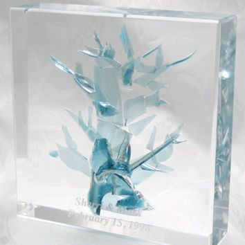 Tree of Life Wedding Glass Keepsake Cube, Sculptures Size: 4 L x 6 W x 6 H