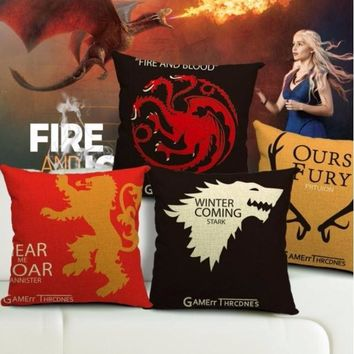 Collection Game of Thrones Classic Throw Massager Decorative Vintage Pillow Fiber Flax Emoji Pillows Cover Home Decor Gift