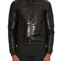 Crocodile-effect leather bomber jacket | Saint Laurent | MATCHESFASHION.COM US