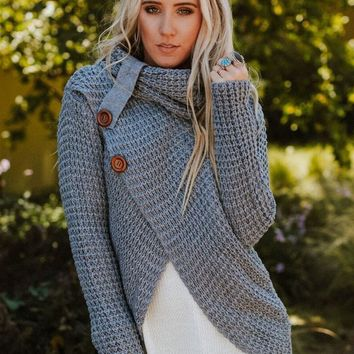 Presley Waffle Knit Button Sweater - Gray