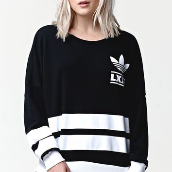 Adidas Berlin 3 Stripe Crew Sweatshirt - Womens Hoodie - Black