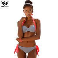 NAKIAEOI  New Sexy Bikinis Women Swimsuit Push Up Bikini Set Bathing Suits Halter Summer Beach Wear Plus Size Swimwear XXL