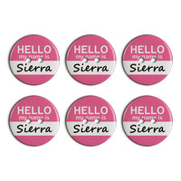Sierra Hello My Name Is Plastic Resin Button Set of 6