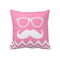 Geeky Mustache with Bubblegum Pink Chevron pattern Throw Pillow from Zazzle.com