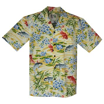 Koi Yellow Cotton Hawaiian Shirt