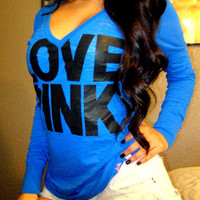 Victoria's Secret PINK Blue LOGO BURNOUT V-Neck Top Shirt Tunic Blouse M