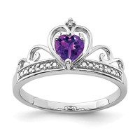 Sterling Silver Diamond And Heart Shaped Amethyst Crown Ring