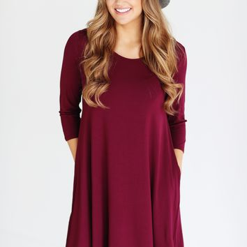 Burgundy PIKO 3/4 Sleeve Pocket Swing Dress
