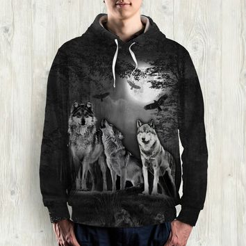 WOLF  ALL OVER PRINT HOODIE - HD001PA