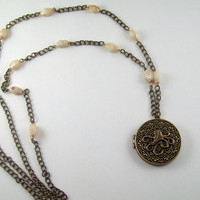 Vintage Inspired Unique Ready to fill with Solid Perfume Octopus Locket Necklace