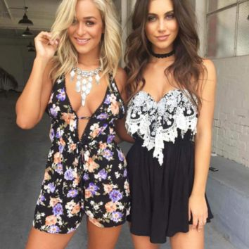 HOT DEEP V BLACK FLOWER ROMPER PLAYSUIT JUMPSUIT