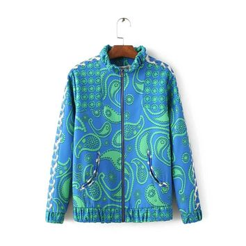 fashion wind Paisley baseball coat