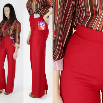 70's Levi's NWT hot red extra high rise pants high waisted trousers fitted slacks flared pants SMALL 25 inch waist XS