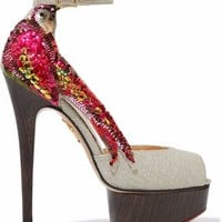 Sequin-embellished woven platform sandals | CHARLOTTE OLYMPIA | Sale up to 70% off | THE OUTNET