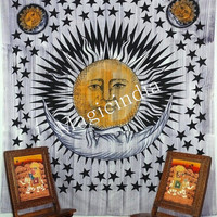 Hippie Sun Moon Tapestry, Queen Mandala tapestries, Indian wall Decor Throw, Wall Hanging Throw Bedspread Bed Decor, Ethnic Decorative Art