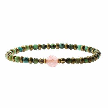 """Change and Love"" Bracelet, African Turquoise and Strawberry Quartz"