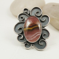 Sterling Silver Ring Pink Yellow Agate Stone Swirl Filigree Oxidized One of a Kind Jewelry - Size 7 - Simmering Sunset