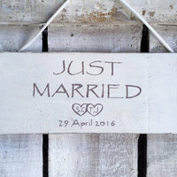 Rustic Wedding sign. Just Married. Wedding decor. Bride Groom Gift. Wedding Car Bumper Sign.