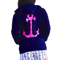 Neon Pink Anchor Hoodie
