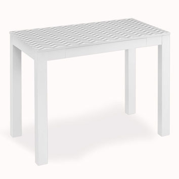 Altra Parsons Study Desk with Drawer White with Chevron Pattern Top