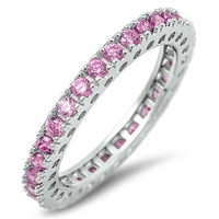 925 Sterling Silver CZ Eternity Pink Simulated Tourmaline Ring 3MM