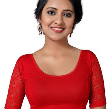 Red Cotton Lycra Quarter Sleeve Stretchable Saree Blouse SNT-A-26-SL