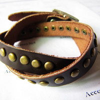 Women Deep Brown Leather and Bronze Rivet by braceletcool on Etsy