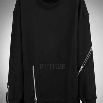 Casual goths zipper men's T-shirt clothes punk long-sleeve T-shirt plus size hip-hop clothing