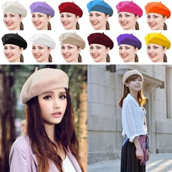 Men Hat Beanie Beret Gift Women Cap French Girl Ski Fashion Khaki Artist Winter