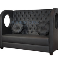 Modern furniture | Contemporary furniture | Nightclub Furniture | Designer Furniture | Leather Seating | Modular Furniture Sectionals & More! | Video: Modular Seating - Model Tiara | Modern Black Leather Banquette Sofa with Removable Round Pillows