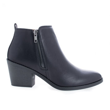 Saddle Black by Soda, Black Pu Women's Chunky Block Heel Ankle Booties W Zipper