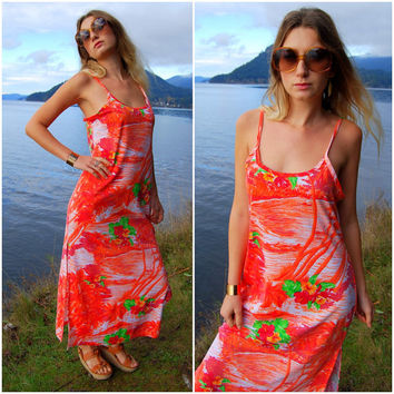 Hawaiian Maxi Dress Red / Orange Large - XL Long Floral Body Con Dress 70s Lounge Wear Spaghetti Strap Dress Hibiscus Flowers Vacation Dress