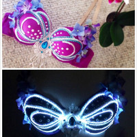 Mermaid Rave Bra,Halloween costume, EDC Outfit Flower/Floral rave bra, LED bra, LED outfit