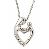 "10K White Gold Diamond Mother and Child Pendant with Necklace 18"" (0.03cttw, I Color, I Clarity)"