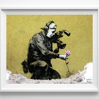 Banksy Print, Camera Man and Flower, Street Graffiti Art, Urban Artist, Home Decor, Stencil Art, Street Art, Home Decor, Fathers Day Gift