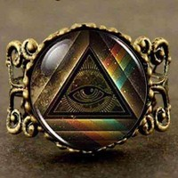 All Seeing Eye Pyramid Resizable Ring