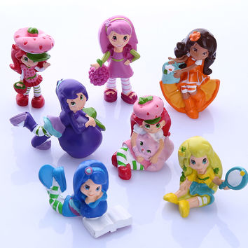 7 Pcs Cartoon Cute Lovely Strawberry Shortcake Action Figure PVC Kids Toys Doll Model Girl Gift