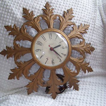 Vintage United Electric Wall Clock...Mid Century Mod...Atomic Sunburst...Distressed Goldtone...Shabby Style
