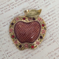 Vintage Apple Brooch You Are the APPLE Of My Eye Gloss Enameled Brooch