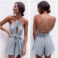 """Urban Outfitters"" Fashion Sexy Sleeveless Backless Hollow Halter Waistband Romper Jumpsuit Shorts"