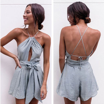 """Urban Outfitters"" Fashion Sleeveless Backless Hollow Halter Waistband Romper Jumpsuit Shorts"