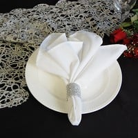 POLYESTER NAPKINS WHITE (10 pack) - Polyester Napkins - Napkins - Wholesale Wedding Chair Covers
