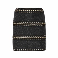 Whipstitched tweed miniskirt