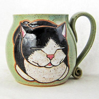 Tuxedo Cat Mug, pottery mug, cat mug, great Father's Day gift idea, cat loaf mug,cat art ,holds approx 13 oz, dishwasher and microwave safe.