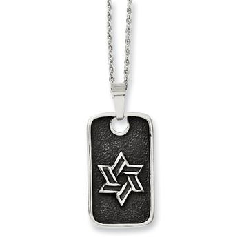 Stainless Steel Antiqued Star of David Dog Tag Necklace